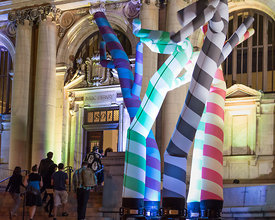 event photography (art) from Art All Night (Nuit Blanche) DC 2014 (artist: Sunman Sorg, Carnegie Library, https://www.facebook.com/carnegielibrarydc, https://www.facebook.com/pages/Sorg-Architects/109936602388571)