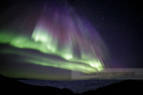 Green and purple Aurora in Ilulissat, Greenland