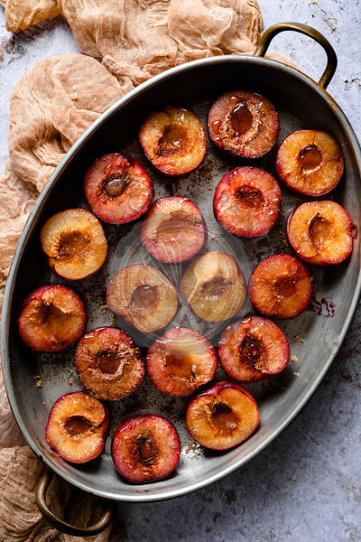 Roasted Red Plums with Cinnamon and Honey ready for baking