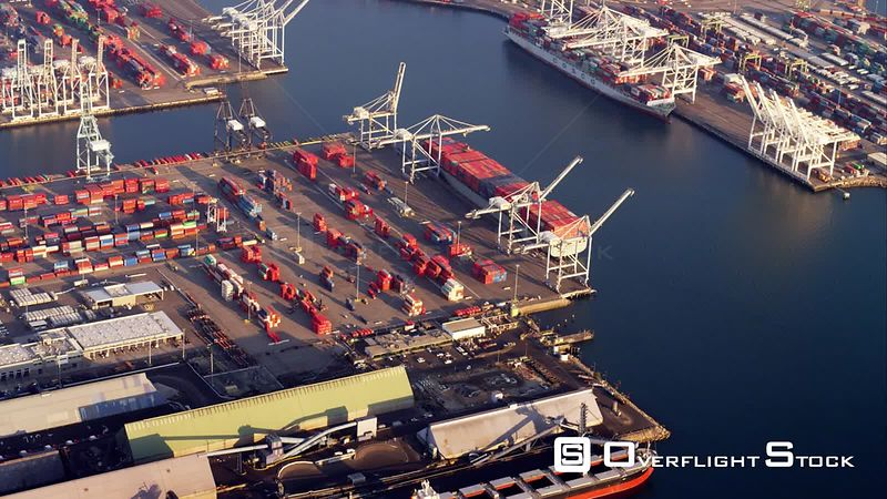 Aerial View Of Container Port, RED R3D 4k California