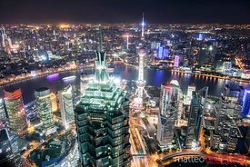 Shanghai city at night, elevated view, China