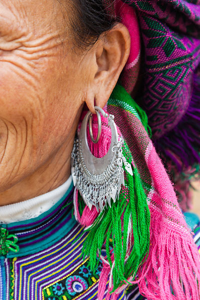 Detail of an Earring worn by a Flower Hmong Woman
