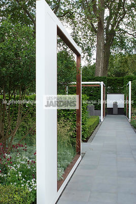 Contemporary garden, Digital, Garden construction, Path, Pergola, Stone path