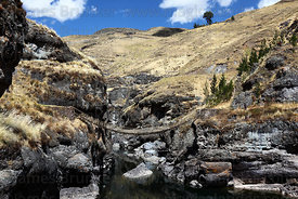 The last Inca rope suspension bridge across the Apurimac River at Q'eswachaka, Canas province, near Cusco, Peru