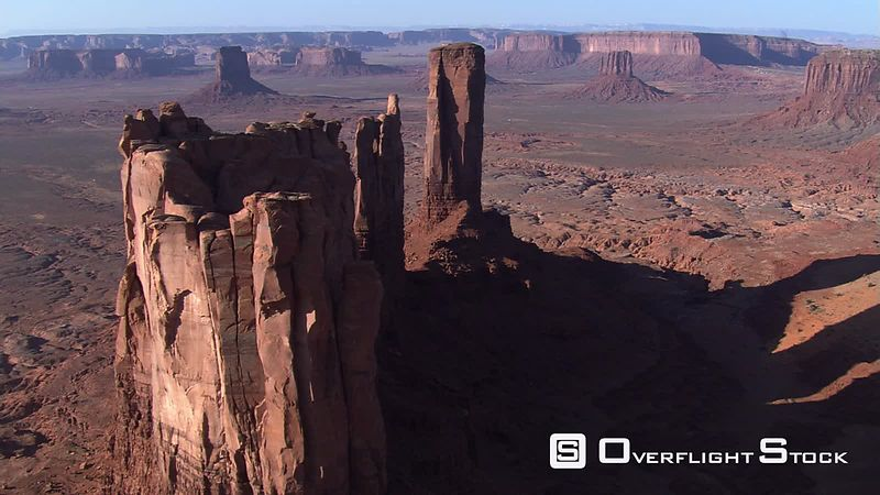 Flying over Stagecoach Butte to Monument Valley vista
