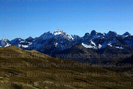 View looking north to Mt Condoriri and surrounding peaks, Cordillera Real, Bolivia