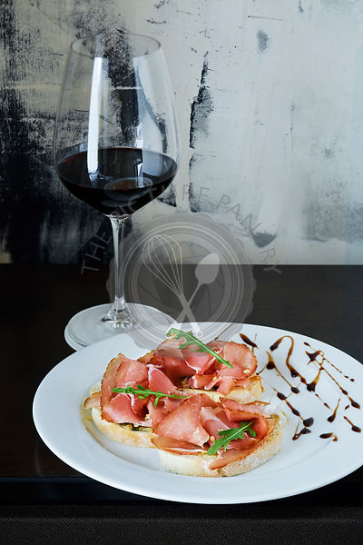 Bruschetta with parma ham. Parma ham, bruschetta.