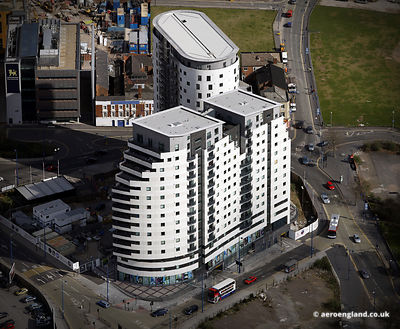aerial photograph of the Masshouse Birmingham, West Midlands England UK