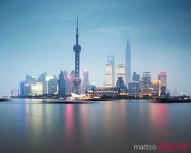 Shanghai Pudong skyline at sunset, China