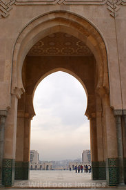 A archway from the Hassan II Mosque, Casablanca, Morocco; Portrait