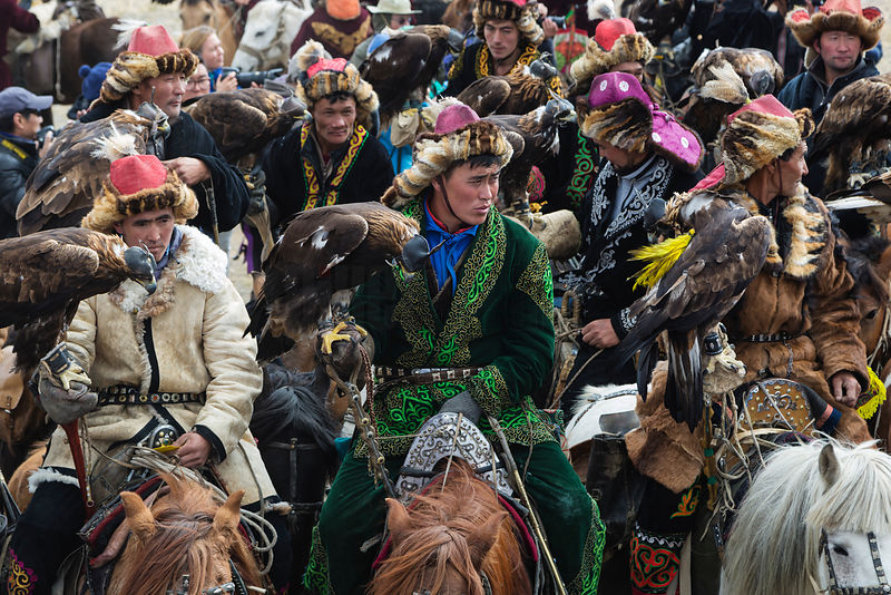 Kazakh Golden Eagle Hunters Gathering for Competition Registration