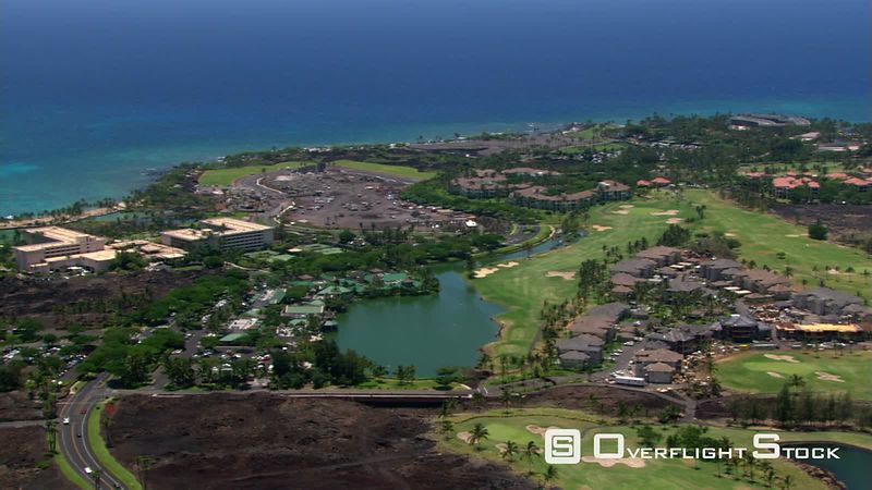 Flying over resort area near Kona, Hawaii