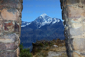 Mt Veronica seen through Inti Punku / Sun Gate, near Ollantaytambo, Sacred Valley, Peru