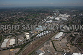 Birmingham high level aerial photograph looking across the M6 motorway towards Fort Dunlop and Jaguar car plant