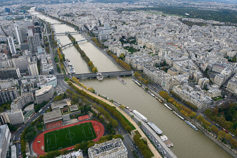 View from the Eiffel Tower of the Seine River, Paris, France, November 2013.