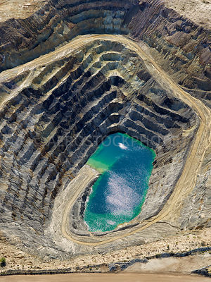 Abandoned open pit mine at the Asarco Mission Complex,  Sahuarita, Pima County, Arizona, USA