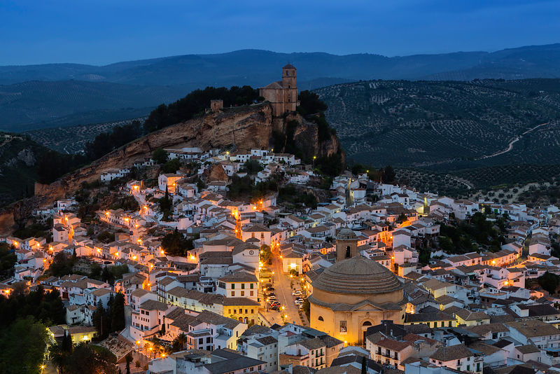 Elevated View of the White Town of Montefrío at Dawn