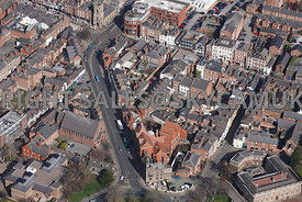 Chester aerial photograph looking down Grosvenor Street and Castle Street Chester
