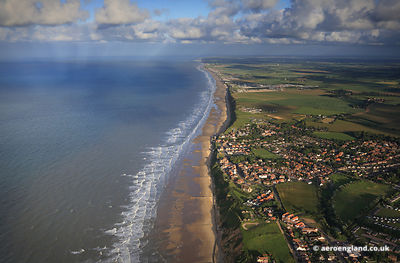 aerial photograph of Mundesley, Norfolk, UK