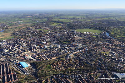 aerial photograph of Chester , Cheshire England UK