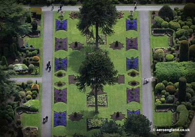 aerial photograph of Brodsworth Hall Gardens Yorkshire England UK