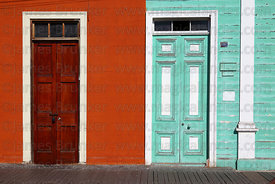 Colourful wooden doors on Baquedano Street , Iquique , Region I , Chile