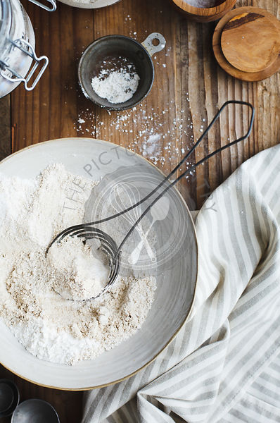 Flour in bowl with whisk