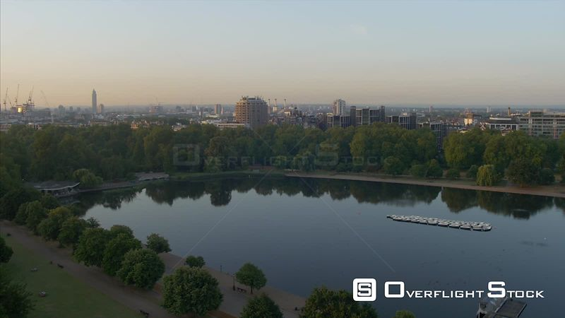 Drone Video Hyde Park View Down the Serpentine London UK
