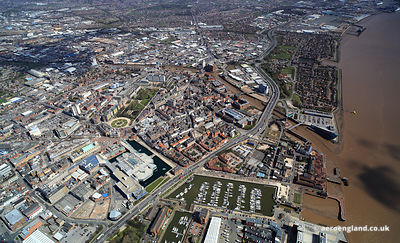 Kingston upon Hull England UK aerial photograph showing the city centre