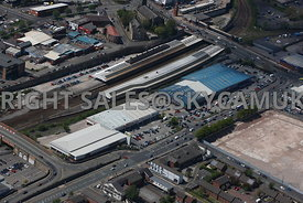 Bolton aerial photograph of the Central Retail Park Manchester Road and Bolton Railway Station