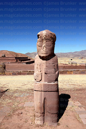 Front view of Fraile monolith, Tiwanaku, Bolivia