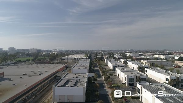 Drone Video Reveal Rise Past Modern Warehouses Torrence California