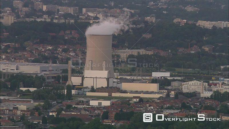 Flying past cooling tower of a nuclear power plant at Brussels, Belgium