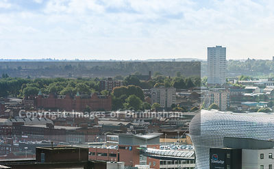 Aerial photograph of Birmingham City Centre, England. The Bullring Shopping centre