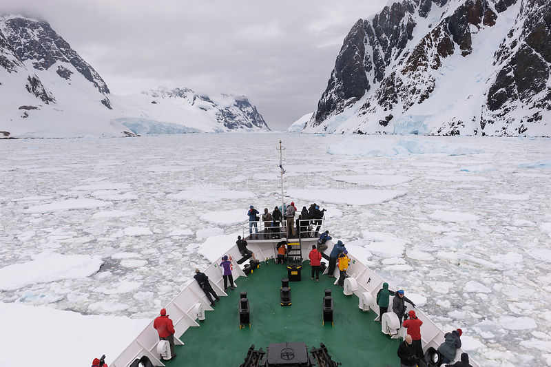 Passengers aboard the 'Ushuaia' expedition vessel, Antarctica. All non-editorial uses must be cleared individually.