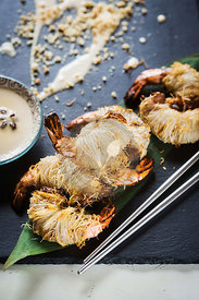 Asian dish - shrimp in hairy dough