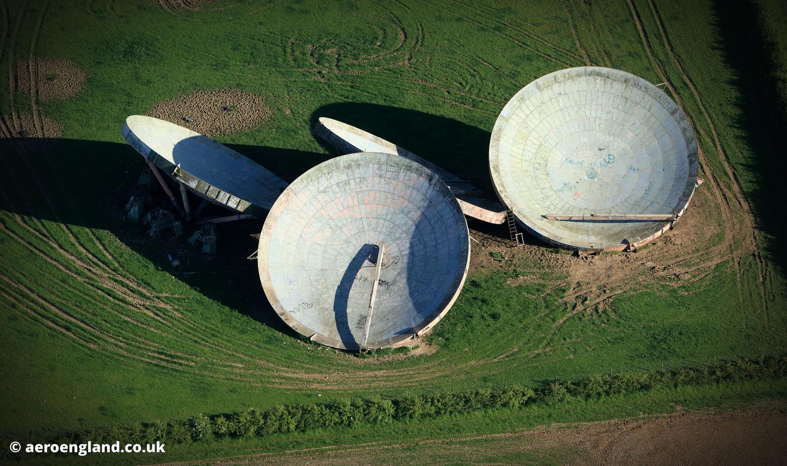 Cold war relic: discarded  20m diameter  tropospheric scatter dishes at the former  RAF Stenigot.