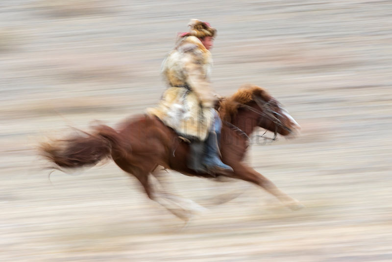 Kazakh Golden Eagle Hunter on Horseback
