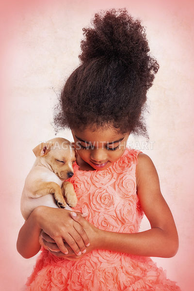 Little Girl and Sleeping Puppy