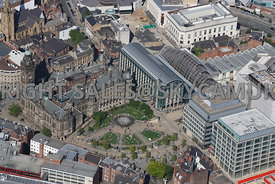 Sheffield aerial photograph of the Peace Gardens and the Winter Gardens showing the curved glass roof of the largest urban temperate Glasshouse built in the UK