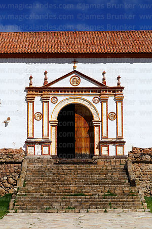 Main side entrance of Nuestra Señora de la Asunción church, Juli, Puno Region, Peru