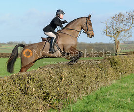 Chloe Newton jumping a hedge at Mrs Greenall's covert