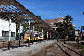 Platform in station of now unoperational Arica to La Paz railway, El Morro headland in background, Arica, Region XV, Chile