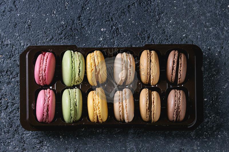 Variety of french dessert macarons