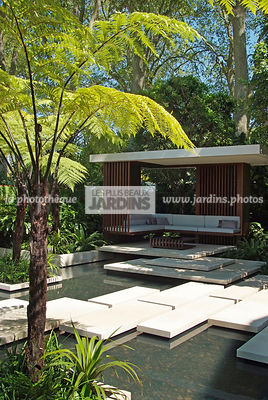 Aquatic garden, Asiatic garden, Contemporary garden, Exotic garden, Pavement, Tropical garden, Water garden, Malaysian garden, Tree Fern