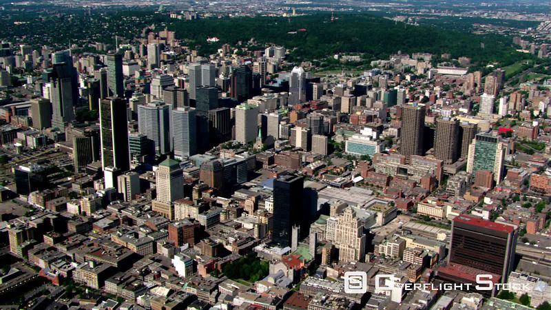 Flight toward waterfront of Montreal, Quebec, looking back to cityscape.