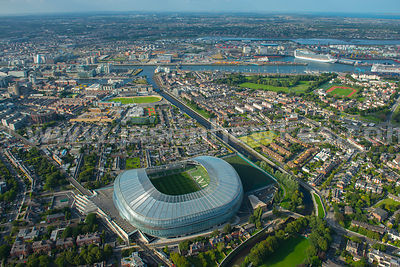 Aerial view of the Aviva Stadium, Dublin, Ireland