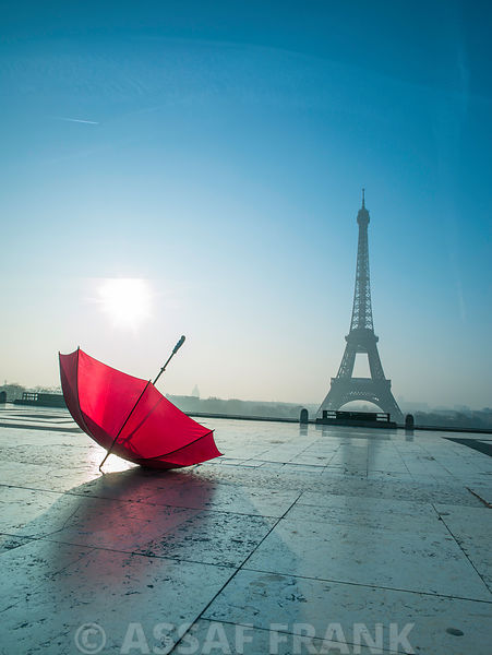 Umbrella next to the Eiffel tower, Paris, France