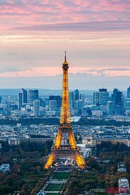 Eiffel tower and La Defense at dusk, Paris, France