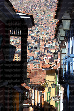 Calle Jaen, the best preserved colonial street in La Paz, Bolivia